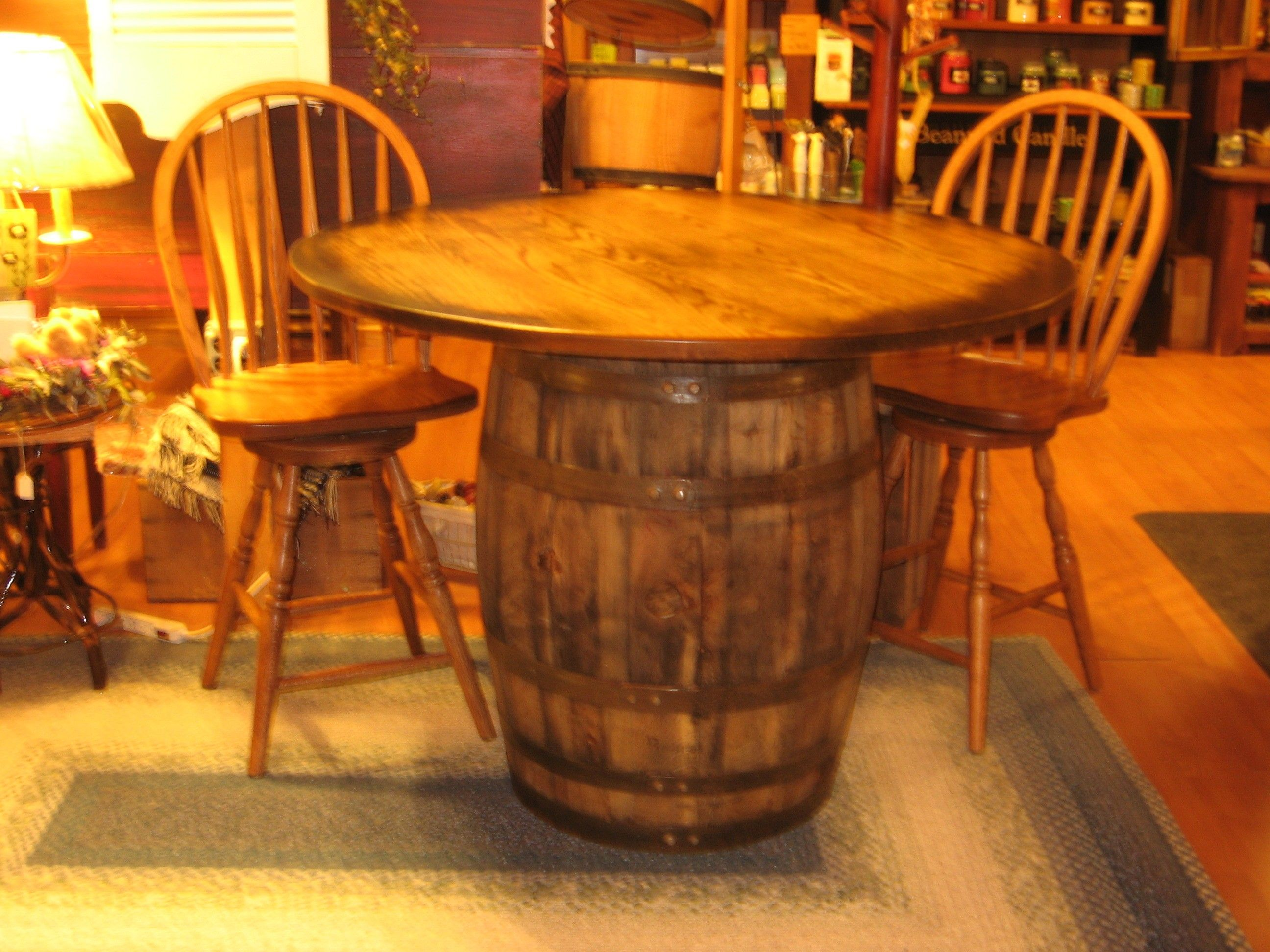 whiskey barrel pub table and chairs crate dining wine desk decor