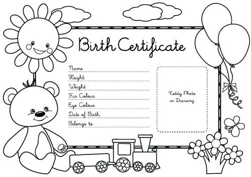 teddy bears picnic birth certificate