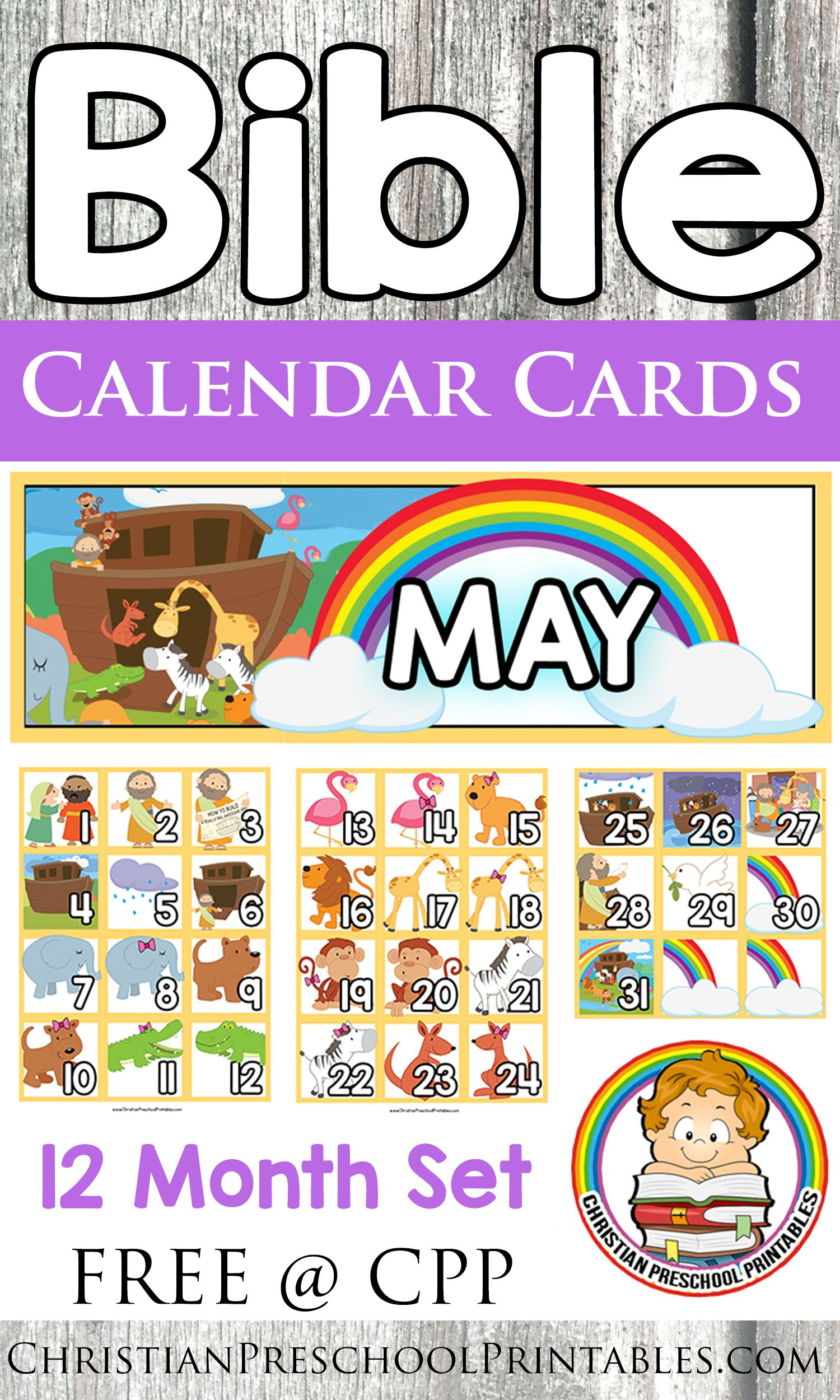 Free Bible Calendar Cards 12 Month Set Of Thematic Bible Resources For Your Home Preschool Or