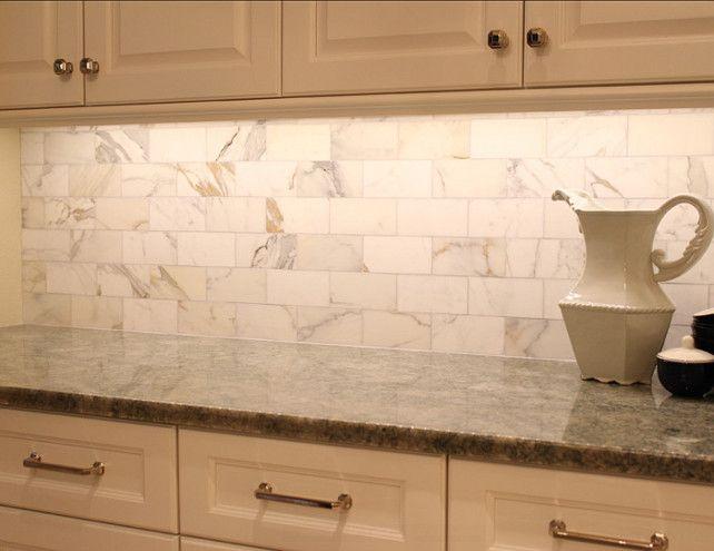 Marble Kitchen Backsplash. The backplash on the side walls