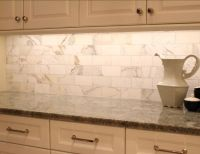 Marble Kitchen Backsplash. The backplash on the side walls ...