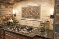 modern yet rustic this hearth style backsplash features ...
