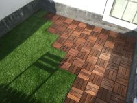 Roof terrace with ikea decking tiles and Oakham artificial ...