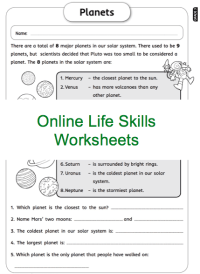 Grade 3 Online Life Skills Worksheets, Planets, Space. For ...