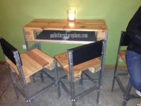 Simple desk & chairs made of pallet wood and angle iron ...