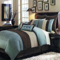 8pc Modern Color Block Blue Brown Comforter Set Oversized