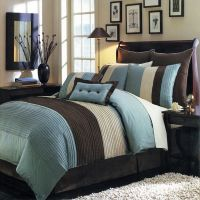 8pc Modern Color Block Blue Brown Comforter Set Oversized ...