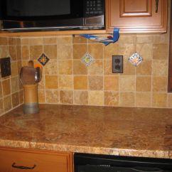 Wallpaper Kitchen Backsplash Elkay Sinks The Perimeter Countertops Are Rich Chocolate Honed