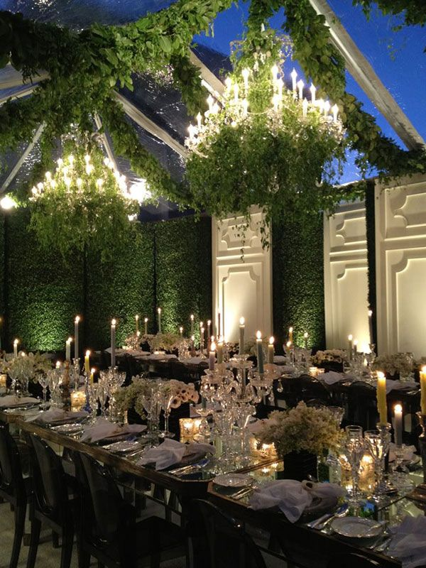 For An Indoor Garden Wedding Crystal Candelabras Chandeliers