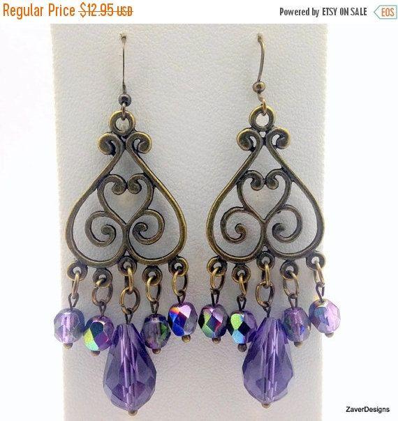 Earrings Purple Crystal Chandelier By Zaverdesigns