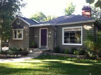 Warm grey house, purple door | gray house inspiration ...