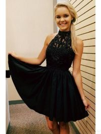 black homecoming dresses, 2017 halter beading homecoming ...