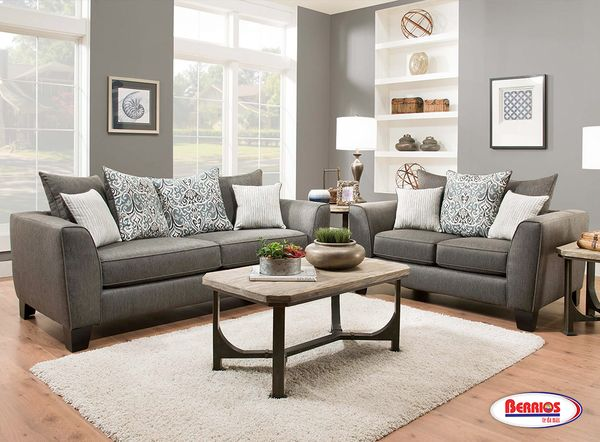356 Liam Charcoal Grey Living Room Set  Color gris oscuro