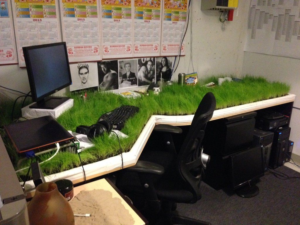 Grass Desk Prank  imaginationarium of play  Pinterest