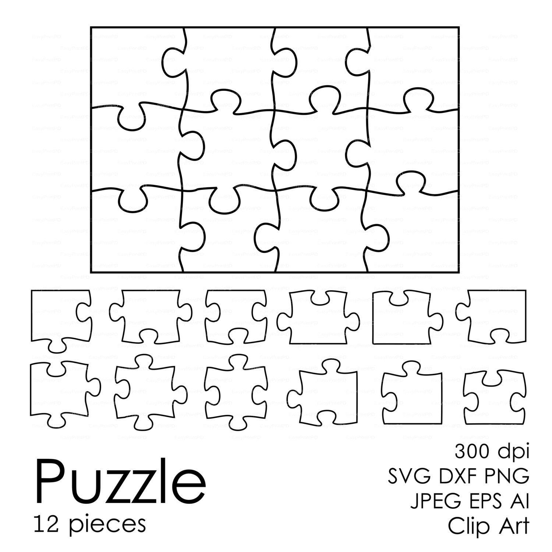Puzzle 12 Pieces Svg Dxf Eps Ai Vector Digital
