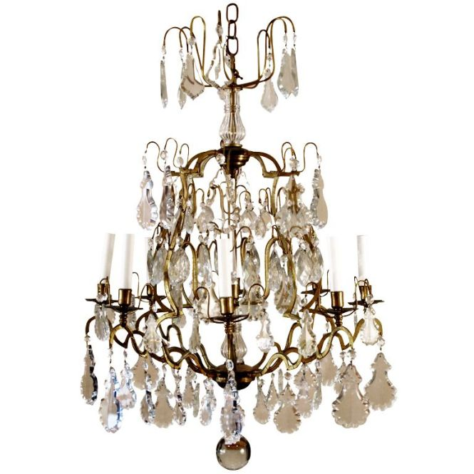 French Vintage Crystal And Brass Eight Light Chandelier