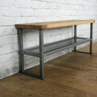 Industrial Rustic Hallway Shoe Storage Rack Bench *Made to ...