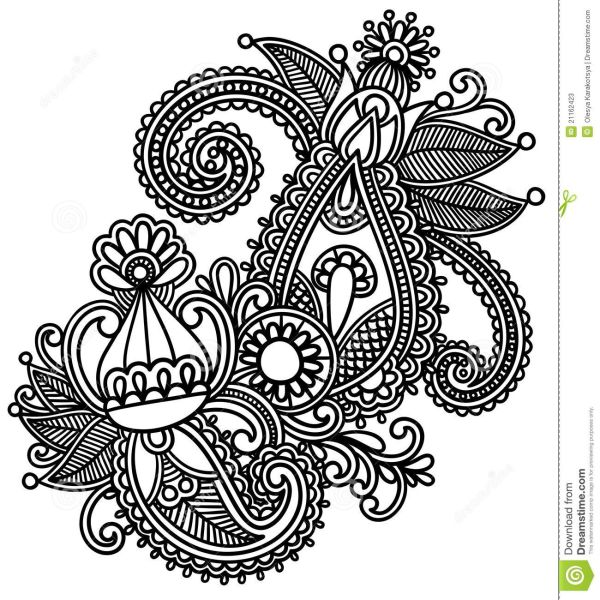 Moroccan Henna Silhouette Hand-drawn Abstract Mendie Flowers Doodle Vector Illustration