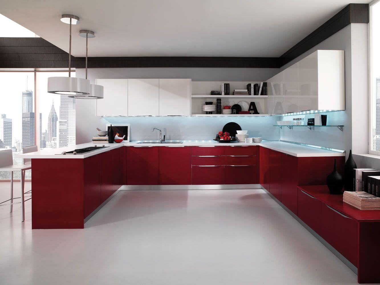 Contemporary Kitchen Lacquered High Gloss Airone Torchetti