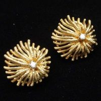 Erwin Pearl Earrings Vintage 18k Gold & Diamonds