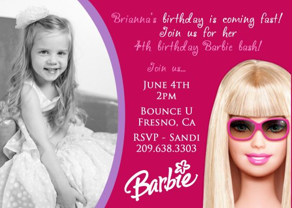 Barbie Birthday Invitation With Peyton'