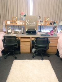 Girls desk. College dorm room. Pink, gold and white ...