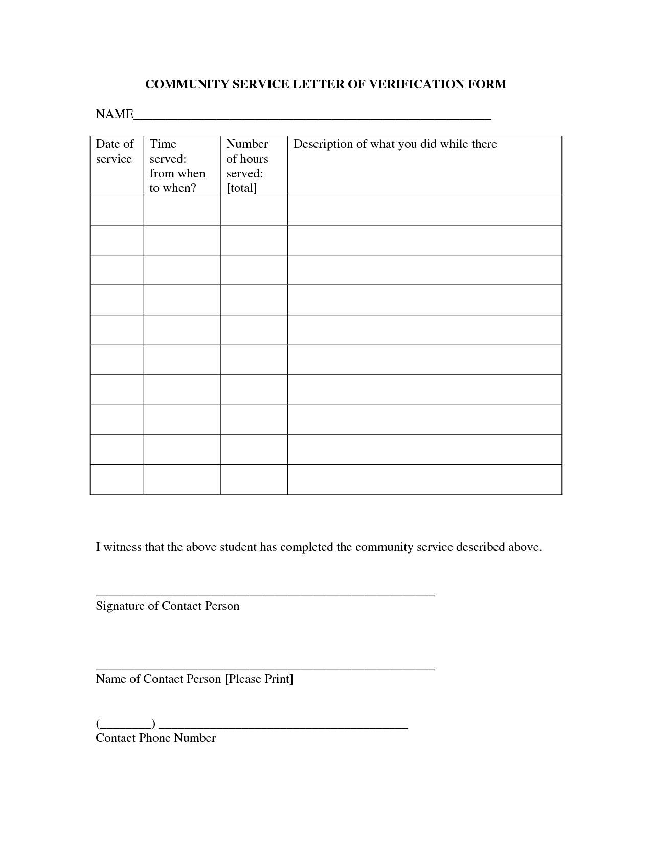 Community Service Form Template