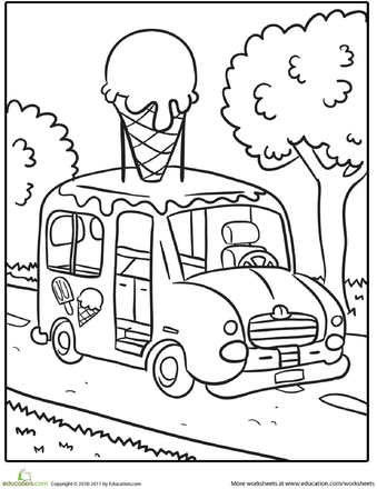 Transportation Coloring Page: Ice Cream Truck
