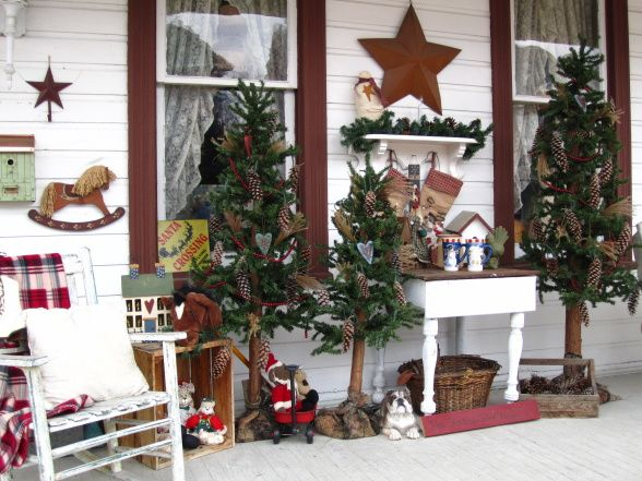 Rustic Country Christmas On My Front Porch Porche Designs