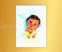 Little Moana Poster, Disney princess Moana watercolor ...