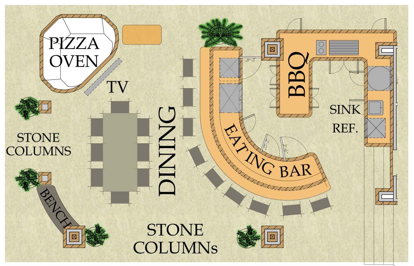 Outdoor Living Kitchen, Pizza Oven, Bar And Dining Area