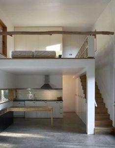 sleek place much prefer the stairs to loft over ladder for myself tiny house ideas bathroom behind kitchen bedroom by aislingh also mo  schody nadszafkowe  miejscu szafy  przedpokoju rh pinterest