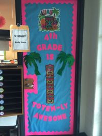 Luau themed classroom door