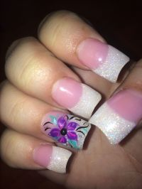 Purple nail design pink and white French | My Nail Art ...