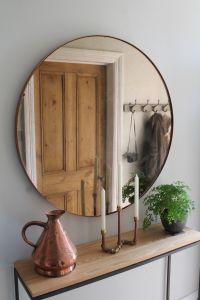 Hallway Furniture, Copper Mirror over Steel and Oak ...