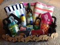 Honeymoon gift basket. Made this for my cousin, she loved ...