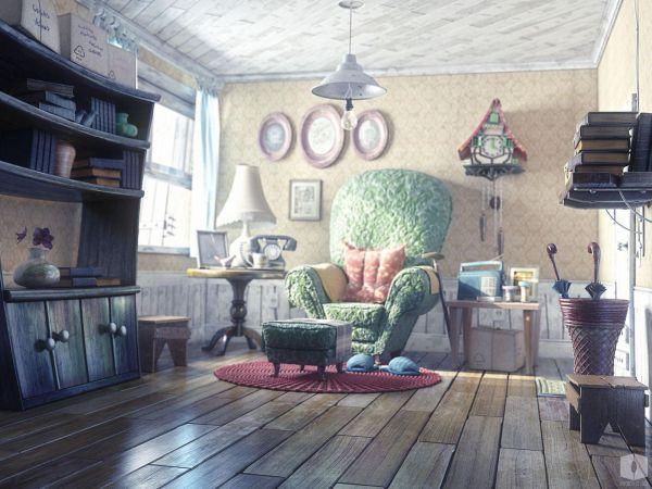 Man House 3d Cartoon Light