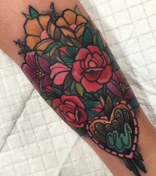 20 Traditional Flower Bouquet Tattoos Ideas And Designs