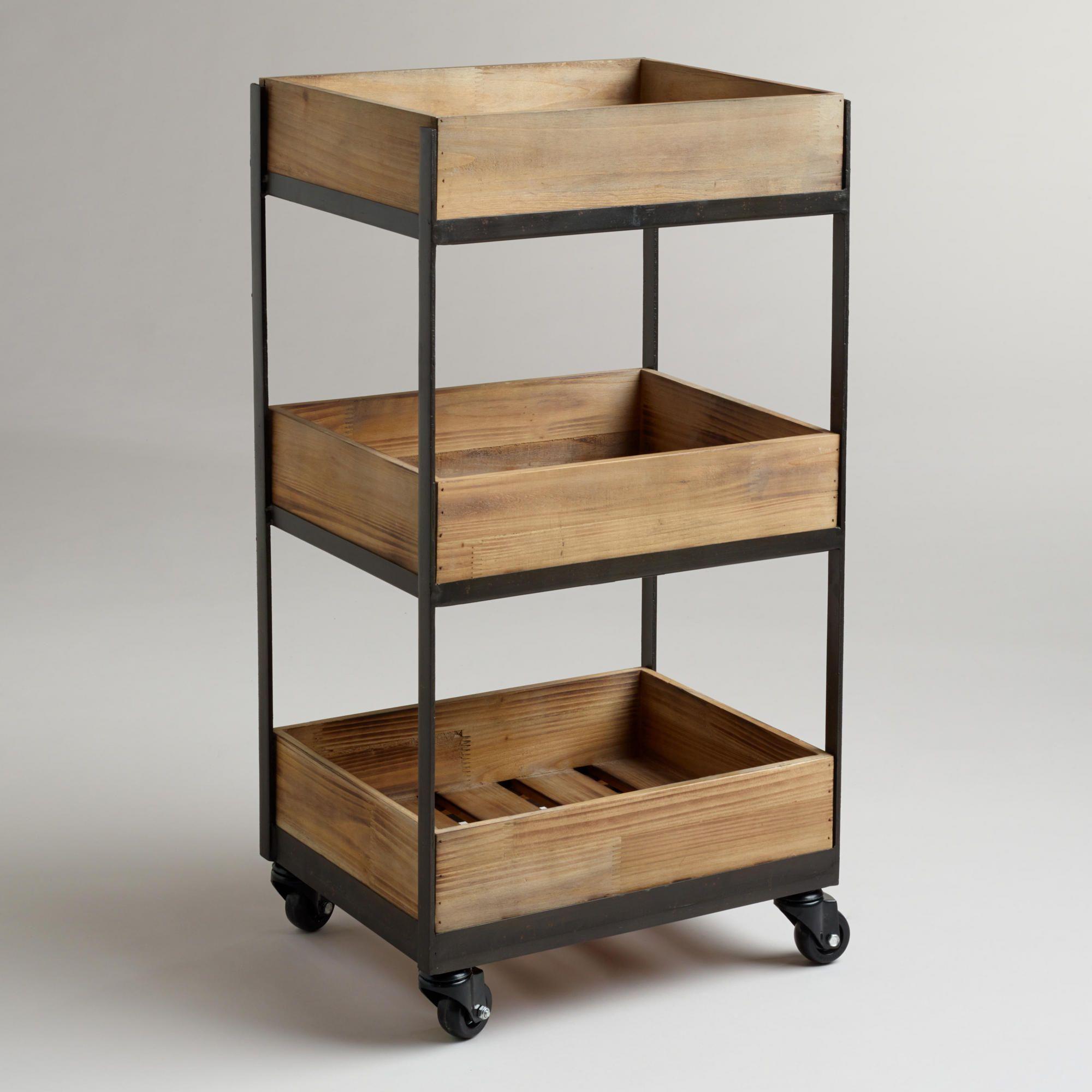 kitchen storage cart farmhouse cabinets 3 shelf wooden gavin rolling shelves and bath