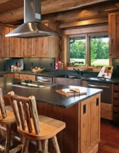 Rustic style  log barstools chiseled edge granite countertops and  copper farm sink give touches of elegance to the kitchen all also beautiful home interieur pinterest logs interiors rh
