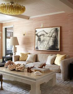 Cameron diaz shows off nyc apartment for elle decor and her designer kelly wearstler pose inside completely redone new york city west also interiors living room manhattan rh pinterest