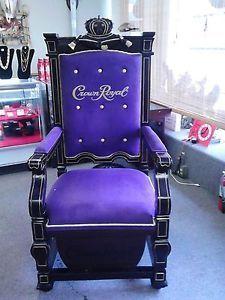 Crown Royal Purple Velvet and Wood Throne Chair RARE