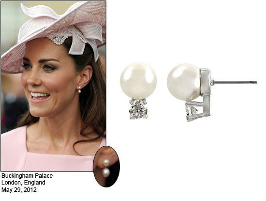 Celebrity Style Jewelry Kate Middleton Pearl Earrings