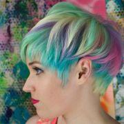 short bright pastel sand art hair