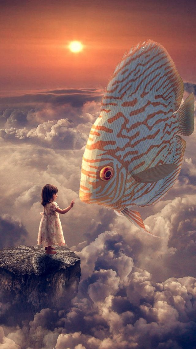 Mixed Girl Quotes Wallpaper Anime Fantasy Girl Fish Clouds Sky Iphone 5s Wallpaper