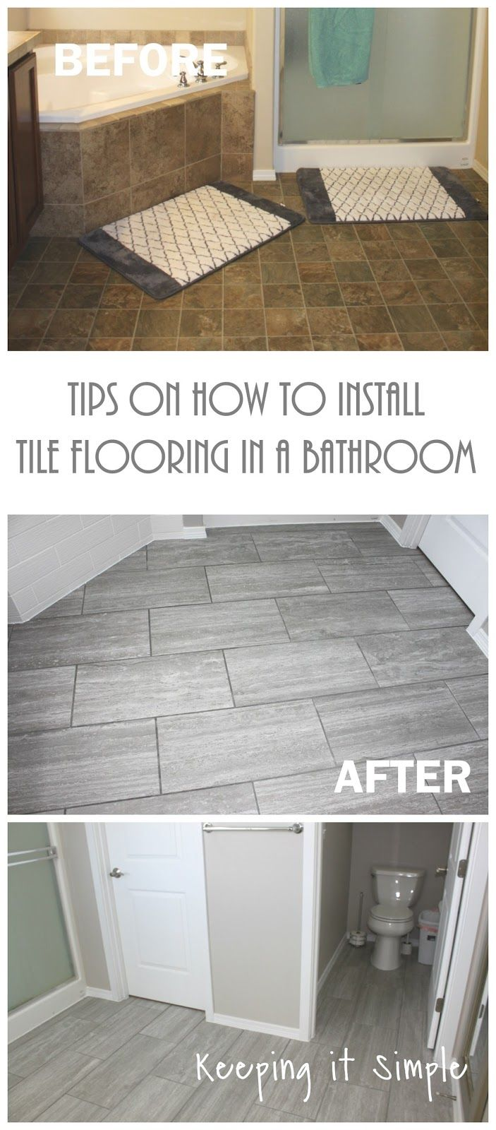 Tips on how to install tile flooring in a bathroom using Ridgemont 12x24 silver porcelain tiles