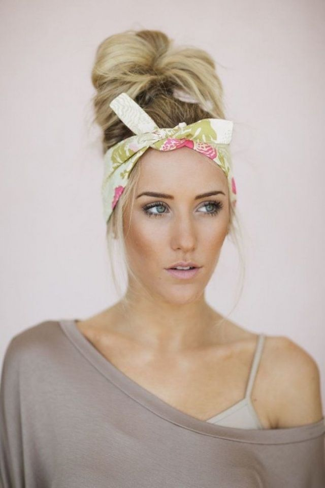 Bandana Kopftuch Binden Idee Haarknoten Lässige Frisur Hair 17