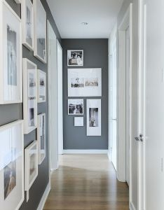 Gallery wall small space walls photo tracey ayton  little much but like the gray also corridoio casa pinterest interiors house and hall rh