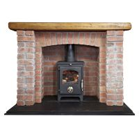 Brick fireplace with log burner | Modern types of ...