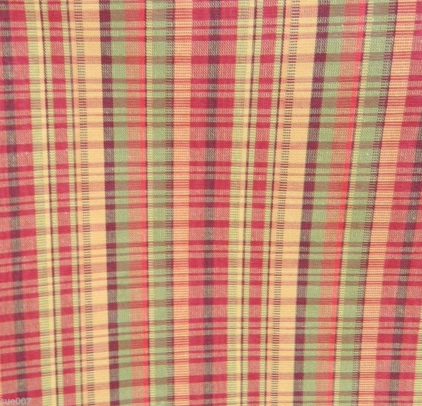 Red Green Gold Plaid Drapery Upholstery Pillow Home Decor Fabric